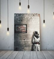 BANKSY ALICE OUT OF WONDERLAND -DEEP FRAMED CANVAS WALL ART GRAFFITI PRINT- RED