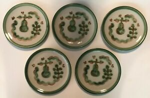 Set of 5 M.A.Hadley Pottery Green Pear & Grapes Dessert or Side Plates VG COND!