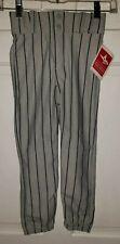 Allstar Gray Navy Blue Pinstripe Poly Baseball Pants. Youth S Nwt