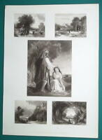 1847 Print Multiple Views - Stirling & Windsor Castle, Ruth & Boaz Cows at Ford