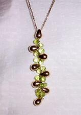 14K YELLOW GOLD VINTAGE GOLD DROP BEADS PERIDOT BRIOLETTE NECKLACE  -  LB0698