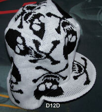 Skull & Crossbone White Black Warm Beanie With Peak New