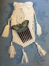 Enamel Edwardian Style Butterfly Hair Comb Titanic Downton Abbey + FREE Handbag