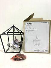 Home Decorators Weyburn 4-Light Black +Polished Chrome Caged Chandelier