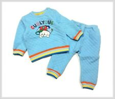 Cute 2-piece playwear set for toddlers, quilted, light blue, size 2T~3T