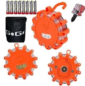 3 Pack LED Road Emergency Warning Flares lights with Bag & 9 AAA Batteries