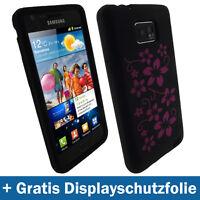 Schwarz Blume Silikon Hülle für Samsung i9100 Galaxy S2 II Tasche Case Skin