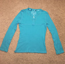 Girl's Arizona knit long sleeve school top shirt  L 14/16 slim blue turquoise
