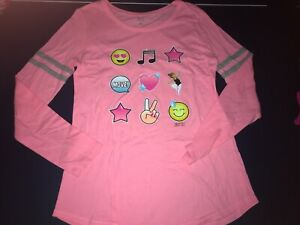 Girls Justice Active Coral Emoji Shirt Size 20 EUC Excellent Used Condition