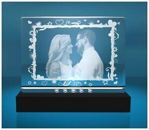 2D Glasfoto mit Wunschfoto graviert Geschenk Jahrestag inkl. LED Leuchtsockel