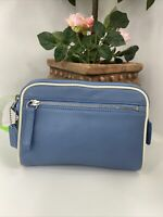 New Coach Legacy Vintage Cosmetic Bag Soft  Leather Zip Blue FS8658  M8
