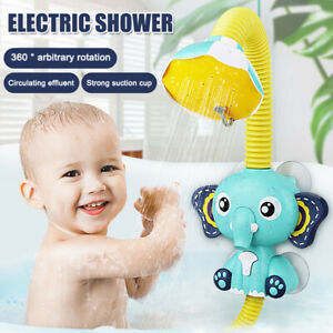 Funny Electric Elephant Water Pump Baby Shower Head Spout Rinser Kids Bath Toys