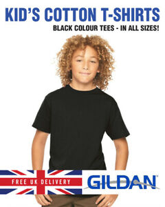 BLACK GILDAN Childrens 100% Cotton Softstyle Plain Black T-Shirt Shirt Tee Top