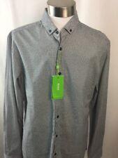 Hugo Boss Shirt Biliai Black Blue Geometric Large Slim Fit 100% Cotton A75
