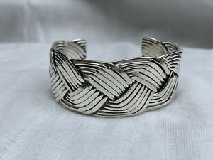 Mexico Sterling silver chunky braided weave cuff bracelet lagenlook