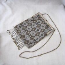 005b422082e7 Antique Art Deco Steel Beaded Handbag Purse w  Silver   Brown Geometric  Design