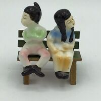 Vintage Japan Fueding Boy and Girl on Bench Salt Pepper Shakers