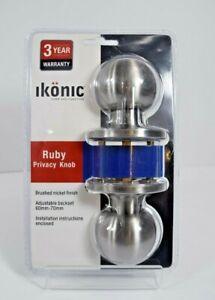 Lockable Ikonic Privacy Ruby Door Knob 60mm - 70mm  Brass Chrome Nickel