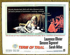"LAURENCE OLIVIER, SIMONE SIGNORET - a thriller !! -- ""TERM OF TRIAL"" 1962 poster"
