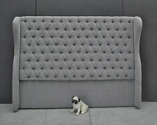Grey Buttoned Chesterfield Studded Winged Upholstered King Bed Head / Headboard