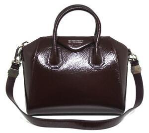 New $2450 Givenchy Small Creased Antigona Aubergine Patent Leather Bag
