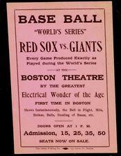 1912 World Series  Boston Red Sox vs New York Giants, Boston Theatre Paper Sign