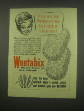 1949 Weetabix Crackers Ad - Mum says that Weetabix is the best start to a day