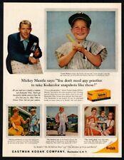 1959 KODAK Kodacolor Film - NEW YORK YANKEES Player MICKEY MANTLE VINTAGE AD