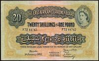 1955 East Africa 20 Shillings = 1 Pound Banknote * F72 44742 * aVF * P-25 *
