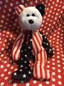 Ty Beanie  Baby Spangle Blue Face. No Tags. USA. Patriotic