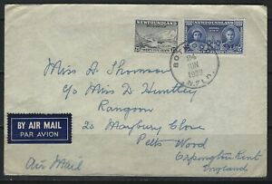 NEWFOUNDLAND - 1939 ROYAL VISIT AIRMAIL COVER  BOTWOOD, NL TO ENGLAND