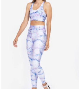 Terez Activewear 2 Piece Set Bra Super High Band Leggings Pink Blue Marble Small