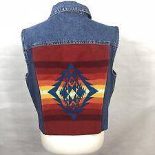 PENDLETON DENIM VEST Women Sz L WOOL INDIAN AZTEC Blanket Southwest Back Jacket