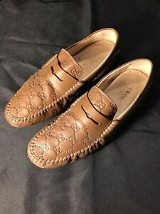 GUCCI TAN GG LOAFERS MOCCASINS SLIP ON BROWN BEIGE SHOES US 10 43 AUTHENTIC