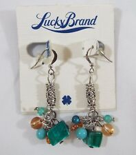Color Shell Glass Hook Dangle Earrings Lucky Brand Silver Tone Turquoise Orange