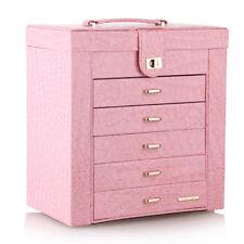 Pink Large Jewellery Boxes Girls Mirror Display Organiser Rings 5 Drawers Holder