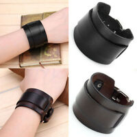 Punk Mens Womens Unisex Wide Genuine Leather Belt Bracelet Bangle Wristband Cuff