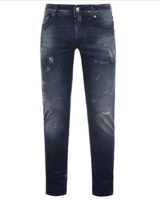 Jacob Cohen Mens Size 38 W 32 L Blue Distressed Jeans READ DESCRIPTION