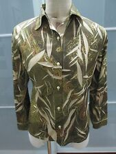 Ruben Cassin Floral & Leaf Print Long Sleeve Button Front Blouse Fits M