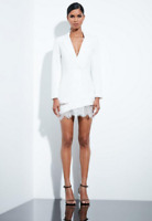 Missguided Peace Love White Lace Hem Blazer Dress RRP £79 Now £35 Size UK-14