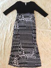 Ma Cherie Maternity Maxi Dress Black White 3/4 Length Sleeve Size Small
