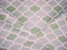 6+Y LEE JOFA GREEN / GREY WHITE ARABESQUE TEARDROP UPHOLSTERY FABRIC