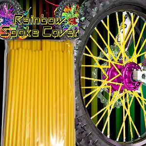 SALE!! Speichen Spoke cover Spoke style Ribbs Speichen Gelb Rainbow 36 Stck!