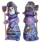 """Wooden hand carved snowman figurine 11"""" hand painted Christmas decorations"""