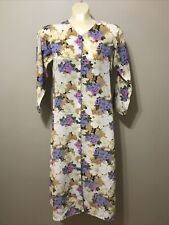Vtg Handmade silk Housecoat Dress Nightgown gold/ with purple/blue/pink Size S
