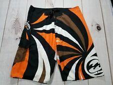 Orange Billabong Hawaiian Rising Sun Surf Board Shorts Size 36