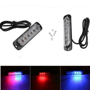 2Pcs 6LED Car Auto Flash Emergency Hazard Warning Beacon Strobe Light Bar 12-24V