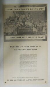 """Campbell's Soup Ad:  """"Our Third Tank Is On It's Way !"""" from 1940's 8 x 14 inches"""