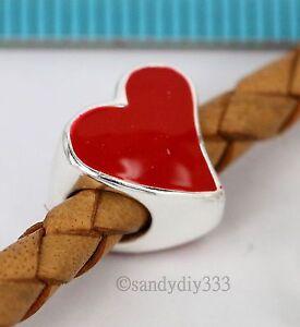 1x STERLING SILVER RED TILTED HEART LOVE EUROPEAN BRACELET CHARM BEAD #2609