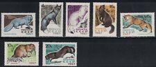 Russia SC3371-3377 FurBearingAnimals-SilverFox-Muskrat-Ermine-Sable-Mink MNH1967